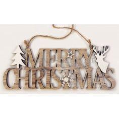 Ξύλινο Merry Christmas Γούρια 2018 Διάσταση: 11cm x 30cm