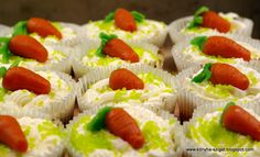 Carrot cupcakes with cream cheese topping