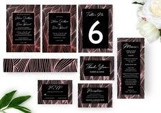 Foil Wave Lines Wedding Invitation Set, Printable Invitation, Wedding Templates, Printed Invitations Wedding Invitation Sets, Wedding Sets, Invitation Suite, Waves Line, Christmas Card Template, Stationery Templates, Painted Leaves, Reception Card, Wedding Templates