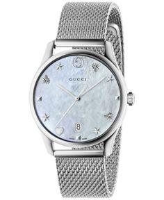 df91f90d1cb Gucci Women s Swiss G-Timeless Stainless Steel Mesh Bracelet Watch 36mm -  Silver