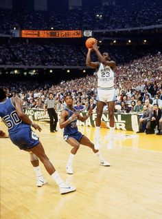 """"""" Thee Shoot """" Michael Jordan knocks down the winning jump shot vs Georgetown...The North Carolina Tar Heels won their second NCAA national championship with a 63–62 victory over the Georgetown Hoyas...1982 National Champions !"""