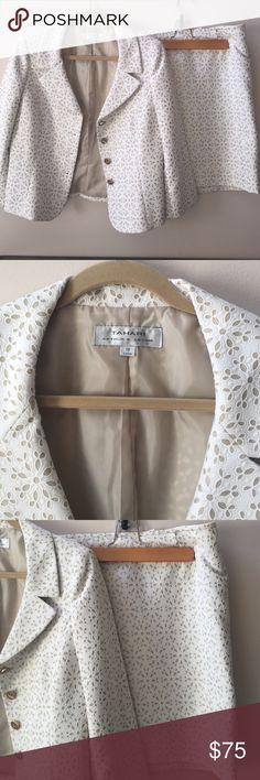 TAHARI skirt suit! Brand is TAHARI. Winter white skirt suit! NEVER WORN! Jacket and skirt included! Tahari Skirts Pencil