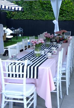Bridal shower table setting (afternoon tea party}