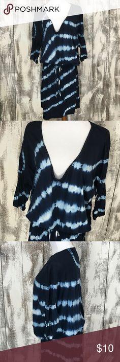 "Calvin Klein Jeans Dress 3/4 Sleeve, tie waist dress with beaded neckline. XL. Across underarms approx 25"" and length approx 39.5"" Calvin Klein Jeans Dresses"