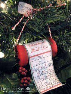 Christmas Wish List Tree Ornament.  Such a sweet Chistmas keepsake!