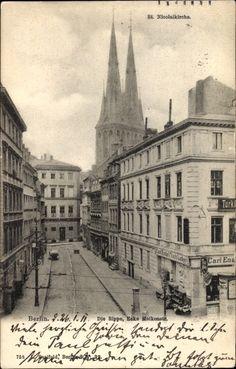 Ansichtskarte / Postkarte Berlin Mitte, Die Rippe, Ecke Molkenstraße, St. Nicolaikirche