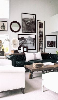 This is very similar to what I plan on doing in one room, haven't decided if its going to be the bedroom, living room or guest room. I have several blk and white framed photos