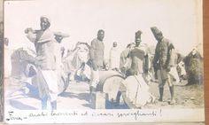 DERNA arabi lavoranti e ascari sorveglianti VIAGGIATA 1912 fotocartolina