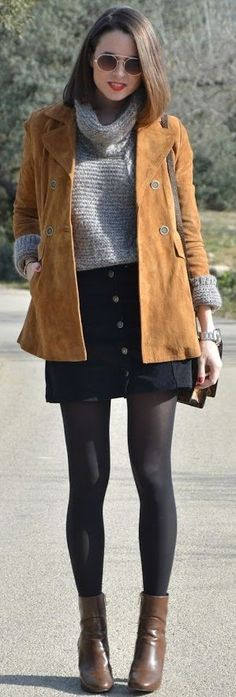 Camel Suede Jacket, Gray Chunky Turtleneck, Black Button Front Skirt, Gray Tights, Brown Booties | Camel Suede Jacket Winter Street Style | LookFORtime #camel