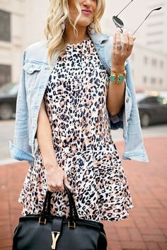 Leopard Dress and Denim Jacket | Chronicles of Frivolity