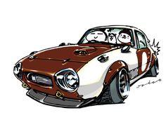 "car illustration""crazy car art""jdm japanese old school ""YOTAHACHI""original characters ""mame mame rock"" / © ozizo ""Crazy Car Art"" Line stichersLINE STOREhttp://line.me/S/sticker/1254713"