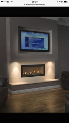 Gazco Studio 2 Gas fire with logs and A. install in false chimney breast - Thornwood Fireplaces Farmhouse Fireplace, Home Fireplace, Fireplace Remodel, Living Room With Fireplace, Fireplace Design, Fireplace Ideas, Small Fireplace, Modern Fireplaces, Linear Fireplace
