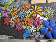 fleurs en mosaïque