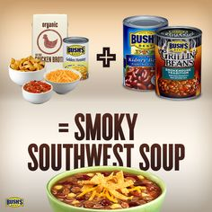 Love this BUSH'S® Beans recipe--can't wait to make Smoky Southwest Soup tonight!