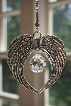 Crystal Suncatcher ANGEL WINGS w/ Clear or by HeartstringsByMorgan