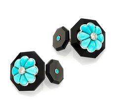 A Pair of Turquoise, Diamond and Onyx Cufflinks, by Bhagat