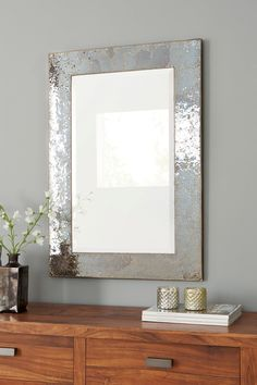 buy mink crackle mosaic rectangle mirror from the next uk online shop