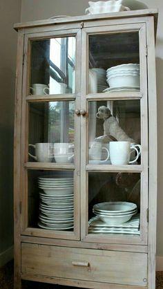 washed wood china cabinet