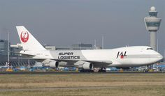 """JAL Cargo (Japan Air Lines) Boeing 747F freighter visiting Schiphol Amsterdam Airport in """"Super Logistics"""" livery - via PJ de Jong"""