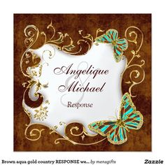 "Brown aqua gold country RESPONSE wedding 5.25"" Square Invitation Card"