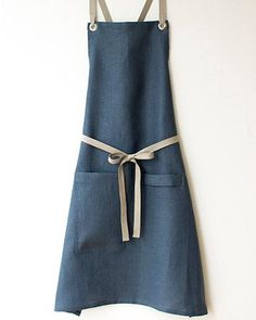 Welcome the newest addition to our apron family, a Kitchen Apron in a luscious dark slate-blue linen. Its elegant, and tested and approved $68