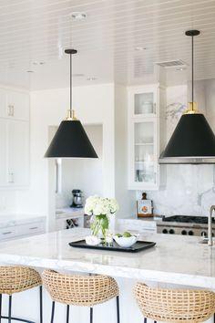 Rejuvenation Butte Pendant Matte black & brass modern coastal kitchen becki owens estillo