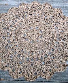 Cinnamon Brown Patio Porch Cord Crochet Rug in by CamilleDesigns