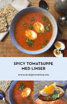 Noen ganger finnes det ikke noe bedre enn en rykende varm suppe når det rusker som verst. Denne er i tillegg akkurat passe spicy, så du får faktisk dobbel dose med oppvarming. I tillegg er den proppfull av proteiner og vitaminer fra linser, tomater og løk. Og med egg i tillegg så metter den godt i magen Spicy, Protein, Curry, Ethnic Recipes, Food, Curries, Essen, Yemek, Meals