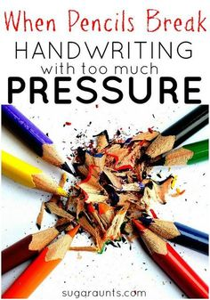 Tips and tools for kids who write with too much pressure in handwriting. Does your child write or color so hard that the pencil breaks? Writing too hard makes handwriting difficult to read and effectively write. Eye Problems In Children Teaching Handwriting, Handwriting Activities, Improve Your Handwriting, Handwriting Practice, Cursive Handwriting, Pre Writing, Kids Writing, Writing Skills, Writing Tips