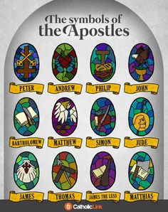 Infographic: The Symbols Of The Apostles | Catholic-Link Catholic Prayers, Catholic Catechism, Catholic Religious Education, Catholic Crafts, Catholic Quotes, Catholic Kids, Religious Art, Roman Catholic, Teaching Religion