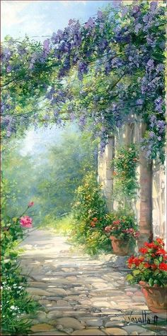 Bloomed Courtyrad by Antonietta Varallo - Bloomed Courtyrad Painting - Bloomed Courtyrad Fine Art Prints and Posters for Sale Beautiful Paintings, Beautiful Landscapes, Landscape Art, Landscape Paintings, Garden Painting, Scenery Wallpaper, Anime Scenery, Fine Art, Art Auction