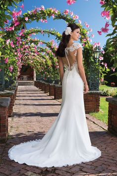 263b3ca8 Sincerity Bridal - Style 3916: Beaded Lace and Chiffon Gown with Illusion  Back Brudekjoler,