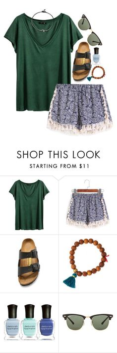 """""""i can show you the world. -Marina """" by the-preps ❤ liked on Polyvore featuring H&M, Birkenstock, Lead, Deborah Lippmann and Ray-Ban"""