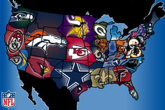 NFL US States And The Ojays On Pinterest - Us college football map