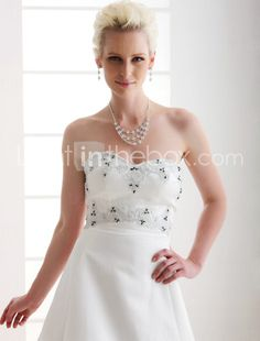 A-line Sweetheart Court Train Satin Wedding Dress  Item ID #00189041
