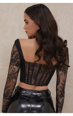 Clothing : Tops : 'Serenity' Black Lace Corset Top Black Corset Top, Black Sheer Top, Black Lace Tops, Lace Crop Tops, Lace Corset, Corset Tops, Corset Outfit, Classy Outfits, Clothes