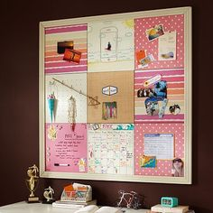 Dry eraser tile boards, cork board, scrapbook paper, modge-podge, and my cricket to make the calender.YEP i could do something similar. Teen Wall Decor, Teen Wall Art, Wall Shelf Decor, Wood Artwork, Pottery Barn Teen, Style Tile, Wall Organization, Bedroom Accessories, Pbteen