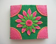 Needle Book Green Felt Cover with Pink by HandcraftedorVintage