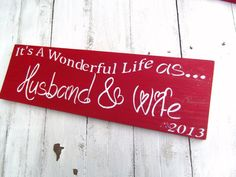 """Christmas sign, 1st Christmas Mr and Mrs, newlyweds husband or wife gift """"It's a Wonderful Life as Husband & Wife"""" w or w/o date"""