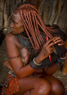Himba Woman Taking Care Of Her Hair, Epupa, Namibia | Flickr - Photo Sharing!