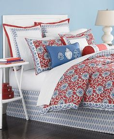 Martha Collection Bedding Ginger Jar 6 Piece Queen Comforter Set Red White Blue By