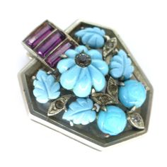 Vintage Art Deco French Blue Glass Floral Dress Clip | Clarice Jewellery