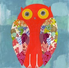 Bright and cheery, this orange owl will certainly bring some happiness to any room!    This owl print was originally made with acrylic paint,