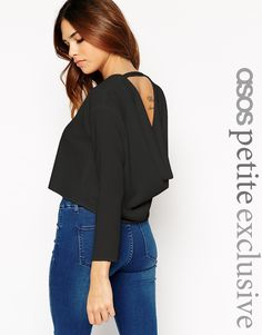 Image 1 of ASOS PETITE Top with Cowl Back