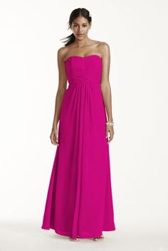 A look and feel that your bridesmaids will love, this long and flowy chiffon dress will set your bridal party apart from the rest!  Strapless a-line silhouette features ultra-feminine pleated bodice.  Long and softflowing chiffon fabricgives this dress a whimsical feel.  Also available in extra length sizes.  Fully lined. Imported. Back zip. Dry clean only. Also available in Extra Length as Style 4XLF15137.