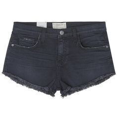 Current/Elliott 'The Gam' washed frayed denim shorts ($180) ❤ liked on Polyvore featuring shorts, black, frayed jean shorts, cutoff jean shorts, denim shorts, cutoff shorts and denim cut-off shorts