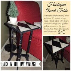 Upcycled vintage harlequin painted black and cream accent table made by Back In The Day Vintage of Spring, TX
