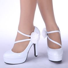 Simple 2014 New Arrive Pointed-End White High Heels Wedding Shoes ...