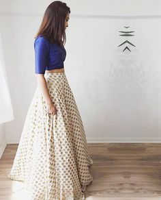 Bedazzle in this simply chic chiffon jamawar lehenga/ball gown skirt paired with indian rawsilk royal blue cropped blouse. Lehenga will have side Choli Designs, Blouse Designs, Lehenga Designs Simple, Indian Attire, Indian Wear, Bride Indian, Indian Weddings, Moda Indiana, Desi Clothes