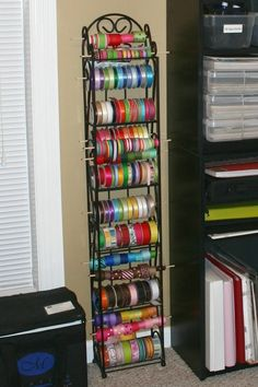 Instead of organizing with ribbons I could see organizing my thread and bobbins for the top part, fabrics below.